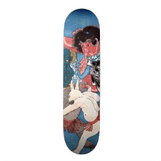 金太郎と動物, 国芳 Kintaro et animaux, Kuniyoshi, Ukiyo-e Skateboard 21,6 Cm