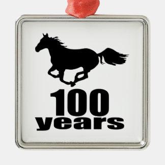 100 ans de conceptions d'anniversaire ornement carré argenté