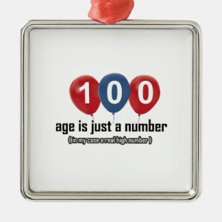 100 ans rien mais un nombre conçoivent ornement carré argenté