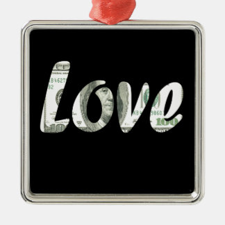 100 dollars d'amour ornement carré argenté