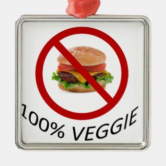 """""""100% végétarien """" ornement carré argenté"""