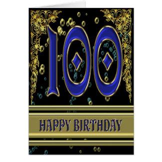 100th carte d'anniversaire avec de l'or et des