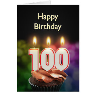 100th Carte d'anniversaire avec des bougies