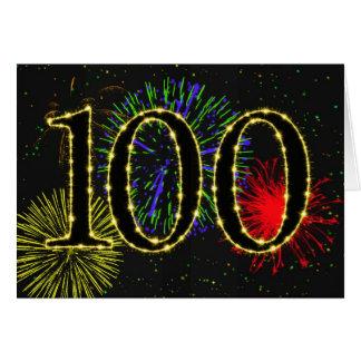 100th Carte d'anniversaire avec des feux