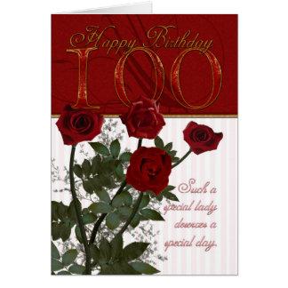 100th Carte d'anniversaire avec des roses
