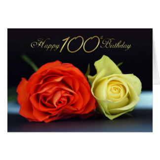 100th Carte d'anniversaire avec des roses d'orange