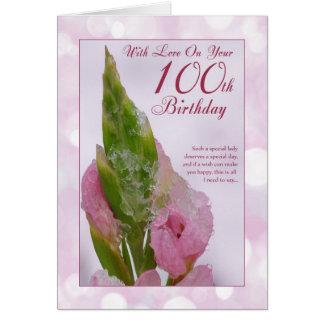 100th Carte d'anniversaire avec la fleur et la