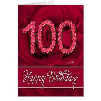 100th carte d'anniversaire avec les roses et le