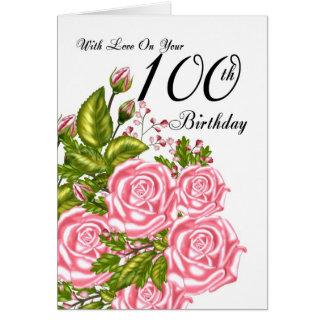 100th Carte d'anniversaire avec les roses roses