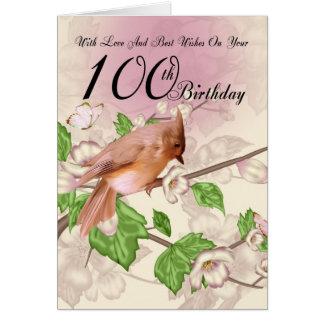 100th Carte d'anniversaire avec l'oiseau et la