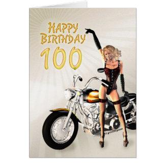100th Carte d'anniversaire avec une fille de