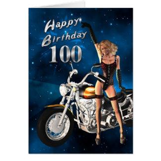 100th Carte d'anniversaire avec une motocyclette