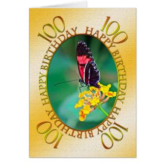 100th Carte d'anniversaire de papillon et de fleur