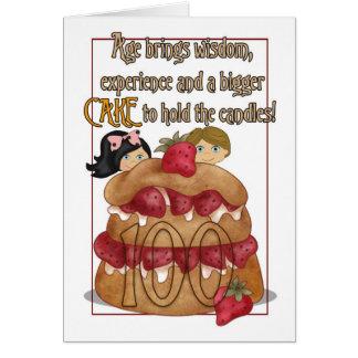 100th Carte d'anniversaire - humeur - gâteau