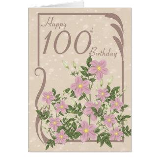 100th carte de voeux florale d'anniversaire