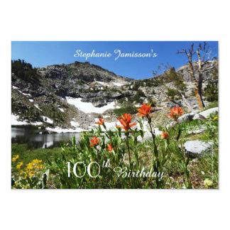 100th Invitation d'anniversaire, montagnes, fleurs