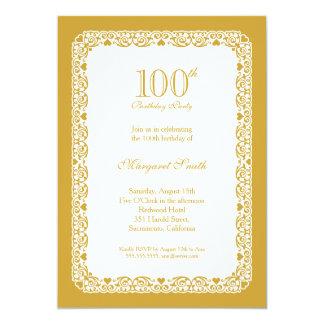 100th invitation d'or élégante de fête