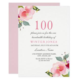 100th invitation floral rose élégant de fête