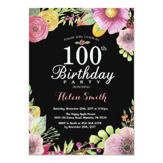 100th invitation florale d'anniversaire pour des