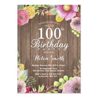 100th invitation florale rustique d'anniversaire