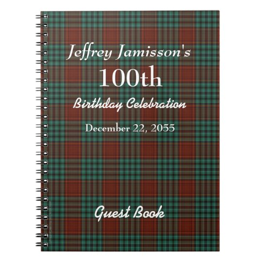 100th plaid rouge et vert de livre d 39 invit de carnets spirale zazzle. Black Bedroom Furniture Sets. Home Design Ideas