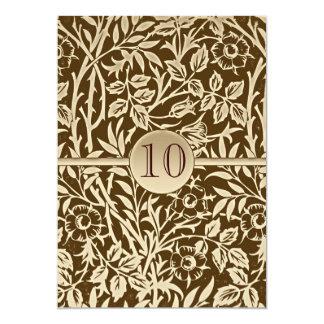 10 ans d'anniversaire de conception vintage carton d'invitation  12,7 cm x 17,78 cm