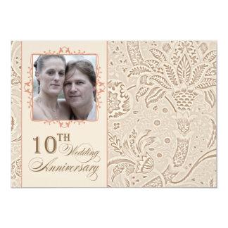 10 ans de photo de mariage de cru d'anniversaire carton d'invitation  12,7 cm x 17,78 cm