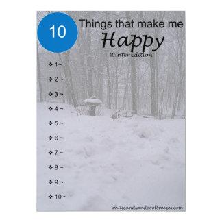 10 choses qui me rendent heureux - carte d'hiver