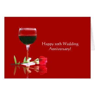 10ème anniversaire de mariage heureux élégant carte