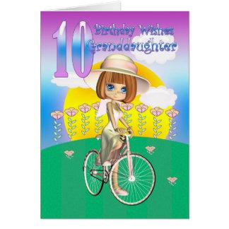 10ème carte d'anniversaire de petite-fille avec la