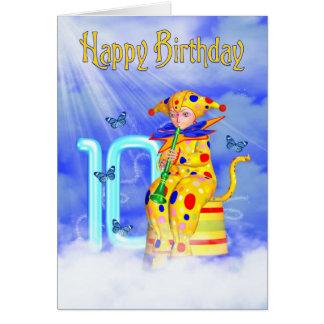 10ème Carte d'anniversaire - petit clown mignon de