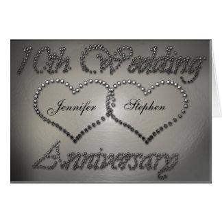 10ème carte perforée d'anniversaire de mariage de