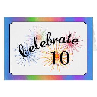10ème Célébration d'anniversaire Carte De Vœux
