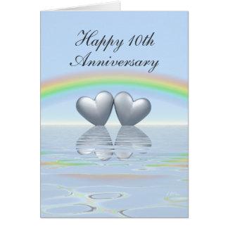 10ème Coeurs de bidon d'anniversaire Carte De Vœux