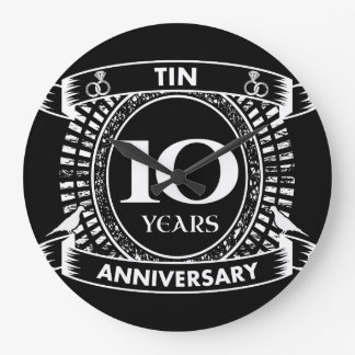 10ème étain d'anniversaire de mariage grande horloge ronde