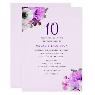 10ème invitation d'anniversaire de demoiselle de