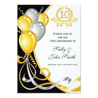 10ème Invitation d'anniversaire d'or et d'argent