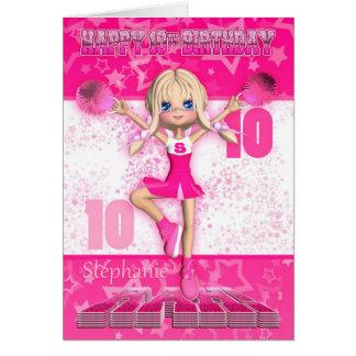 10ème pom-pom girl de carte d'anniversaire de