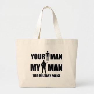 1186 polices militaires mon homme sac en toile jumbo
