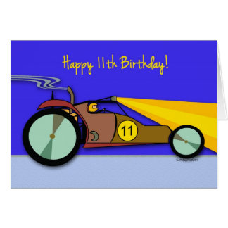11ème Carte d'anniversaire pour l'enfant, buggy