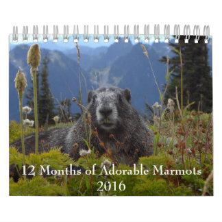 12 mois de calendrier adorable des marmottes 2016