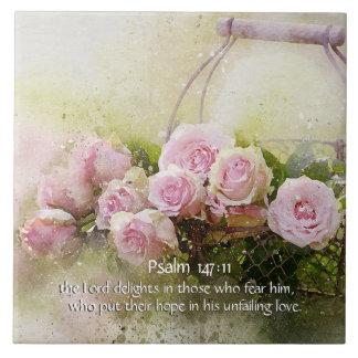 147:11 de psaume, vers de bible, panier des roses carreau