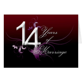 14 jaar van Huwelijk (huwelijksverjaardag) Wenskaart