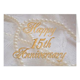 15de huwelijksverjaardag met kant en parels wenskaart