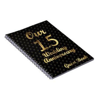 15ème Or de noir de livre d'invité d'anniversaire