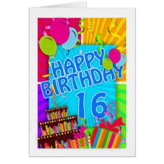 16ème carte d'anniversaire lumineuse et colorée -