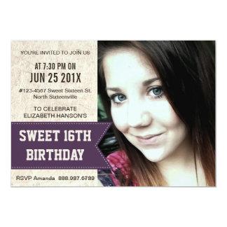 16ème fête d'anniversaire de bonbon pourpre avec carton d'invitation  12,7 cm x 17,78 cm