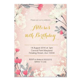 16ème invitation florale rose d'anniversaire (tout