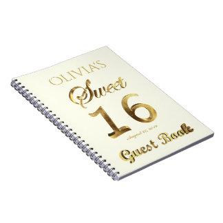 16ème or de livre d'invité d'anniversaire du