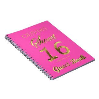 16ème or de rose de livre d'invité d'anniversaire
